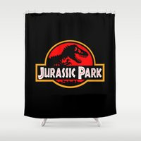 jurassic park Shower Curtains featuring Jurassic Park by MrWhite