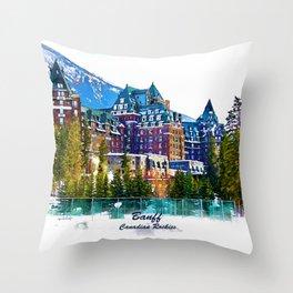 Castle in the Mountains - Banff Alberta Canada Throw Pillow