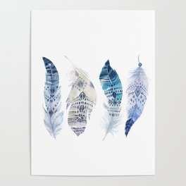 Boho Blue Watercolor Feathers Poster