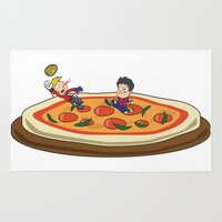 soccer Area & Throw Rugs featuring Soccer pizza by flydesign
