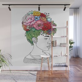 Flowered Hair Girl 2 Wall Mural