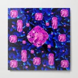 PINK SAPPHIRE GEM SPRINKLES ON BLUE  BIRTHSTONE ART Metal Print