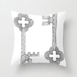 CASTLE KEYS w/b Throw Pillow