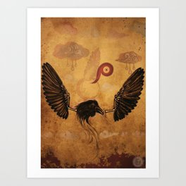 Bird series #1, Raven Art Print