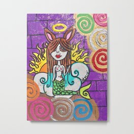 Mermaid Bunny Love Metal Print
