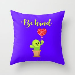 Be kind. Cute happy smiling kawaii potted cactus plant with a red heart balloon. Kindness. Throw Pillow