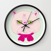 persian Wall Clocks featuring Persian Cat by Madelen Foss