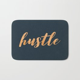 Hustle Text Copper Bronze Gold and Navy Bath Mat