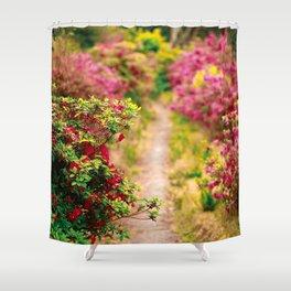 Footpath with azaleas Shower Curtain