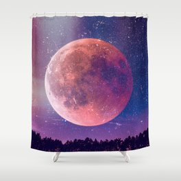 Blood Moon Over A Forest Shower Curtain