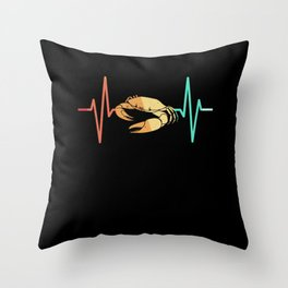 crab crayfish lobster heartbeat EKG Throw Pillow