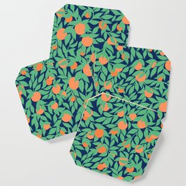 Oranges and Leaves Pattern - Navy Blue Coaster