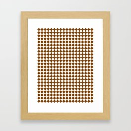 Small Diamonds - White and Chocolate Brown Framed Art Print