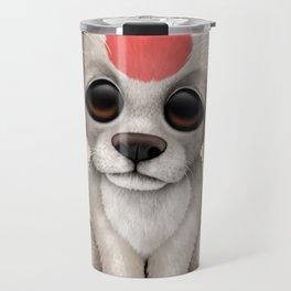 Cute Puppy Dog with flag of Japan Travel Mug