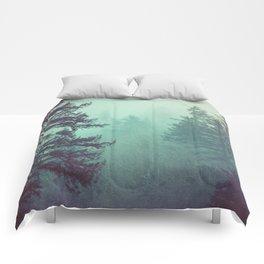 Forest Fog Fir Trees Comforters