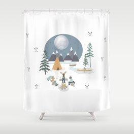 Camp Sleepy Moon (Large Print) Shower Curtain