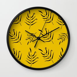 Black collection with ethno Leaves Gold Wall Clock