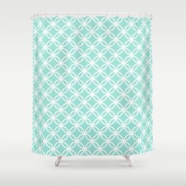 Menthol green and white interlocking circles Shower Curtain