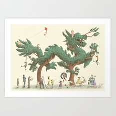 The Night Gardener - Dragon Topiary  Art Print