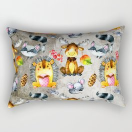 Woodland Animal Friends in forest -pattern for children Rectangular Pillow