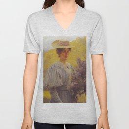 Hans Gude Painting -  Ung Dame Med Syriner 1897  | Reproduction | Norwegian Art Unisex V-Neck