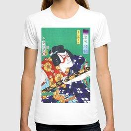 Samurai, Kabuki Actor, Ytani Tomomatsu Kabuki Actor in the role of Sodehagi, Restored Antique Ukiyo-e Color Japanese Woodblock Print T-shirt