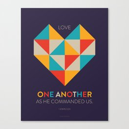 One Another Scripture Poster (1 John 3) // Love One Another Canvas Print