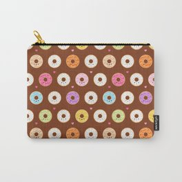 Kawaii Donuts Pattern on Brown Carry-All Pouch