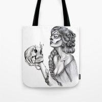 sugar skull Tote Bags featuring Sugar Skull by April Alayne