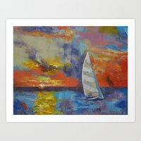 sailboat Art Prints featuring Sailboat by Michael Creese