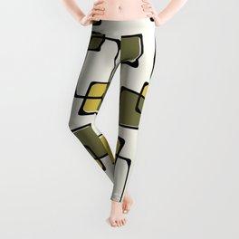 Skewed Squares Midcentury Pattern Chartreuse Leggings