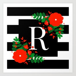 R - Monogram Black and White with Red Flowers Art Print