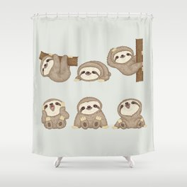 Sloth of various poses Shower Curtain