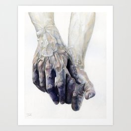 Blue Watercolour Hands Art Print