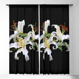 Elegant Casablanca White Oriental Lilies Blackout Curtain