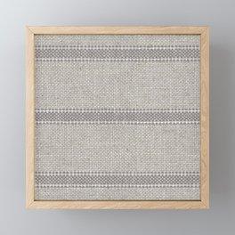 Vintage Grain sack Grey Linen  Framed Mini Art Print