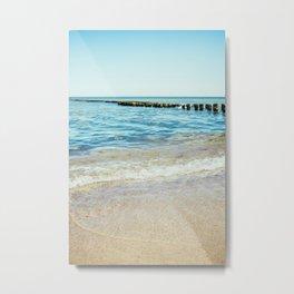 Wave Closeup At Blue Sea Metal Print