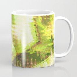 Fragmented Green Abstract Artwork Coffee Mug