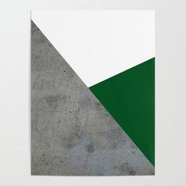 Concrete Festive Green White Poster