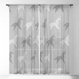 Origami Unicorn Grey Sheer Curtain