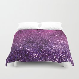 Purple Pink Ombre Lady Glitter #1 #shiny #decor #art #society6 Duvet Cover