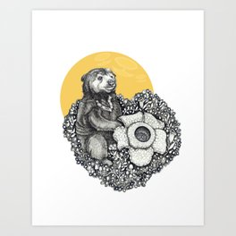 Honey Sun Bear Art Print