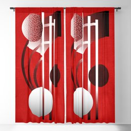 Mid Century Modern Abstract // Red, Black and White // Watercolor Texture Blackout Curtain