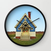 tote bag Wall Clocks featuring Blue Chapel Tote by Anne Freeman Images