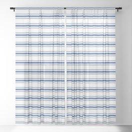 Mattress Ticking Wide Horizontal Stripe in Dark Blue and White Sheer Curtain