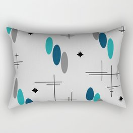 Ovals and Starbursts Teal Rectangular Pillow