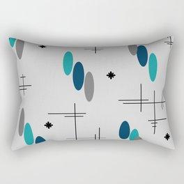 Ovals and Starbursts Teal Rectangular Pillow