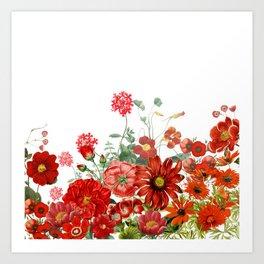 Vintage & Shabby Chic - Red Summer Flower Garden Art Print
