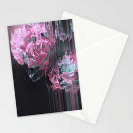 Glitch Pink Hydrangea Stationery Cards
