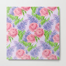 Watercolor peonies and lilacs Metal Print